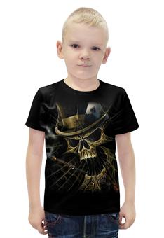 """Футболка с полной запечаткой для мальчиков """"Skull Art"""" - skull, череп, игральные карты, сигарета, арт дизайн"""