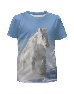 """Футболка с полной запечаткой для мальчиков """"Лошадь"""" - лошадь, конь, животное, фотография"""