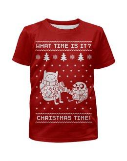 """Футболка с полной запечаткой для мальчиков """"Новый год с Финном и Джейком"""" - новый год, рождество, время приключений, новогодняя, финн и джейк"""