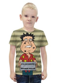 """Футболка с полной запечаткой для мальчиков """"Quagmire Quahog Police"""" - police, family guy, quagmire, quahog"""