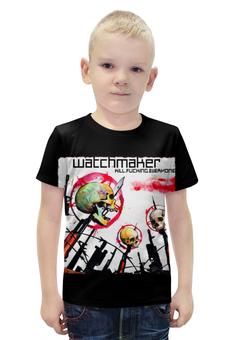 """Футболка с полной запечаткой для мальчиков """"Watchmaker band"""" - skull, череп, рок музыка, рок группа, watchmaker"""