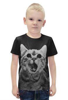 """Футболка с полной запечаткой для мальчиков """"Кот и крест"""" - кот, крест, коты"""