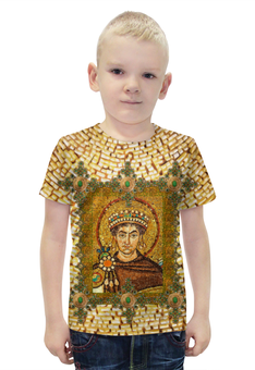 """Футболка с полной запечаткой для мальчиков """"Византия G1"""" - авторские майки, стильно, икона, фреска, мазаика"""