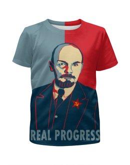 """Футболка с полной запечаткой для мальчиков """"Ленин"""" - рисунок, ленин"""