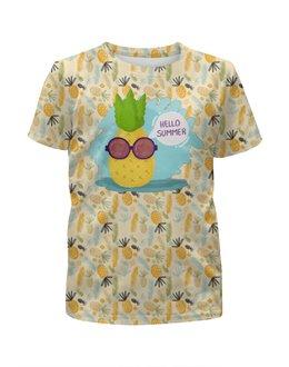 """Футболка с полной запечаткой для мальчиков """"Hello summer!"""" - фрукты, summer, ананас, fruits, летний"""