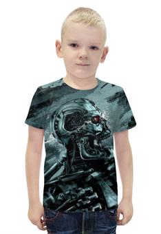"""Футболка с полной запечаткой для мальчиков """"TERMINATOR"""" - skull, череп, терминатор, terminator, киборг"""