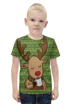 """Футболка с полной запечаткой для мальчиков """"Олень с кофе"""" - подарок, олень, deer, merry christmas, новогодний подарок"""