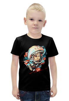 """Футболка с полной запечаткой для мальчиков """"Юрий Гагарин """" - космос, космонавт"""