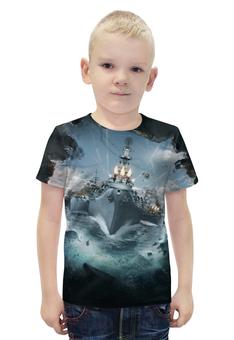 """Футболка с полной запечаткой для мальчиков """"World of Warships"""" - игры, рисунок, карабли"""