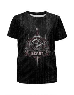 """Футболка с полной запечаткой для мальчиков """"Beast"""" - skull, череп, рок, rock"""