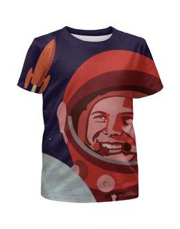 """Футболка с полной запечаткой для мальчиков """"Гагарин"""" - ссср, ретро, космос, россия, юрий алексеевич гагарин"""