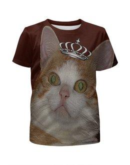 """Футболка с полной запечаткой для мальчиков """"Просто царь."""" - кот, царь, котэ, котик, рыжий кот"""