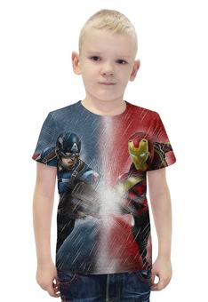 """Футболка с полной запечаткой для мальчиков """"Битва супергероев"""" - iron man, captain america, битва героев, вселенная марвел"""