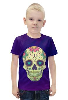 """Футболка с полной запечаткой для мальчиков """"Череп хеллоуина"""" - череп, хэллоуин, зомби, ужас, монстр"""