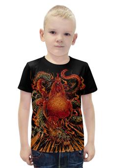 """Футболка с полной запечаткой для мальчиков """"Петух и Дракон"""" - дракон, мифы, петух, красный петух"""