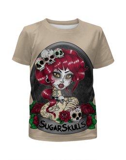 """Футболка с полной запечаткой для мальчиков """"Sugar skull girl"""" - skull, череп, девушка, girl, арт дизайн"""