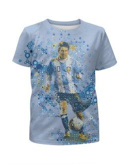 """Футболка с полной запечаткой для мальчиков """"Месси"""" - футбол, арт, месси, аргентина"""