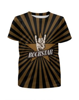 """Футболка с полной запечаткой для мальчиков """"Rockstar"""" - музыка, cool, rock, лого, рок звезда"""