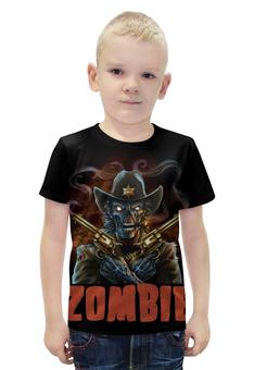 "Футболка с полной запечаткой для мальчиков ""Zombie Sheriff"" - skull, череп, zombie, зомби, шериф"