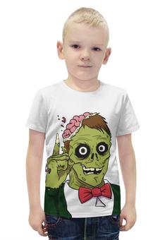 "Футболка с полной запечаткой для мальчиков ""Зомби хеллоуин"" - хэллоуин, зомби, монстр, мозги"