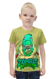 """Футболка с полной запечаткой для мальчиков """"Zombie Madness"""" - арт, zombie, зомби, обезьяна, горилла"""