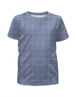 """Футболка с полной запечаткой для мальчиков """"Оптическая иллюзия - орнамент (сине-белый)"""" - орнамент, абстракция, геометрия, иллюзия"""