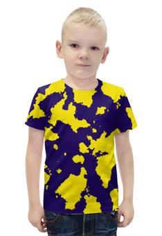 """Футболка с полной запечаткой для мальчиков """"Жёлто-Синий Камуфляж"""" - армия, камуфляж, camouflage, военный, жёлто синий камуфляж"""