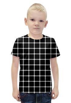 """Футболка с полной запечаткой для мальчиков """"Чёрная клетка"""" - иллюзия, оптика, чёрная клетка"""