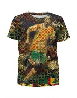 """Футболка с полной запечаткой для мальчиков """"Футбольная мозайка"""" - футбол, арт, африка"""