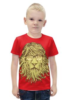 """Футболка с полной запечаткой для мальчиков """"Пафосный Лев"""" - лев, lion, в очках, пафосный лев"""
