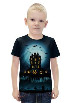 """Футболка с полной запечаткой для мальчиков """"Хеллоуин / Halloween"""" - тыква, джек-фонарь, kinoart, киноарт, jack-o'-lantern"""