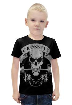 """Футболка с полной запечаткой для мальчиков """"CrossFit"""" - череп, спорт"""