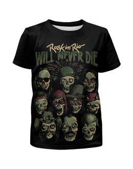 """Футболка с полной запечаткой для мальчиков """"Rock in Rio - фестиваль рок музыки"""" - skull, череп, heavy metal, рок музыка, хеви метал"""