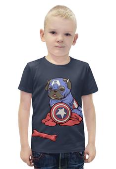 """Футболка с полной запечаткой для мальчиков """"Captain America """" - пародия"""