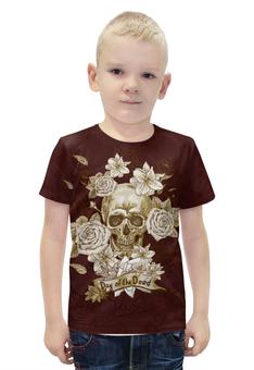 """Футболка с полной запечаткой для мальчиков """"Day of the Dead"""" - череп, цветы, рок, кости"""