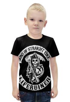 """Футболка с полной запечаткой для мальчиков """"sXe смерть с косой"""" - черепа, sxe, streight edge"""