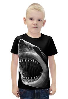 """Футболка с полной запечаткой для мальчиков """"Акула"""" - рыба, акула, shark"""