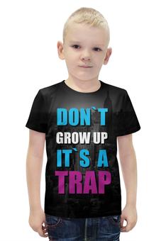 """Футболка с полной запечаткой для мальчиков """"Крупный текст it is a Trap"""" - текст, trap"""