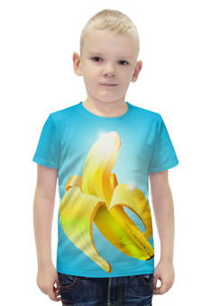 """Футболка с полной запечаткой для мальчиков """"банан"""" - арт, еда, фрукт, блеск, грани"""