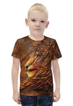 """Футболка с полной запечаткой для мальчиков """"Лев Аслан"""" - арт, авторские майки, животные, лев, кошки"""