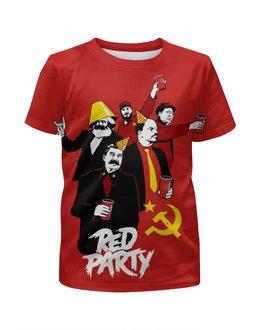"""Футболка с полной запечаткой для мальчиков """"Red Party"""" - юмор, ленин, маркс, коммунист, сталин"""