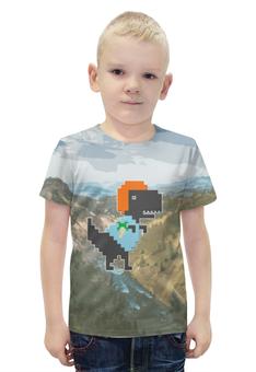 """Футболка с полной запечаткой для мальчиков """"Динозавр"""" - дизайн, динозавр, пиксели"""