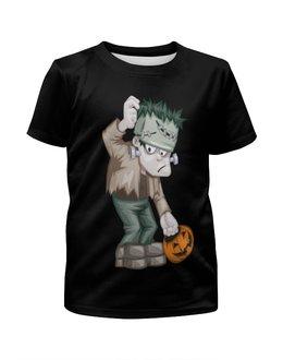 """Футболка с полной запечаткой для мальчиков """"Чудовище Франкенштейна"""" - монстр, франкенштейн, хэллоуин, тыква, зомби"""