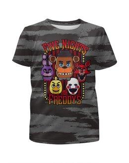 """Футболка с полной запечаткой для мальчиков """"Пять ночей у Фредди (FNAF)"""" - ужастик, фредди, пиццерия, fnaf, бонни"""