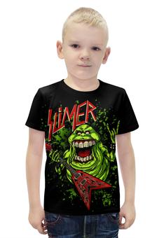 """Футболка с полной запечаткой для мальчиков """"Лизун/Slayer"""" - юмор, slayer, охотники на привидений, thrash metal, ghost busters"""