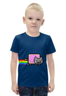 """Футболка с полной запечаткой для мальчиков """"Nyan Cat"""" - cat, nyan cat, nyan, нян, кот нян"""
