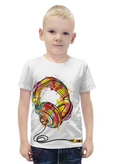 """Футболка с полной запечаткой для мальчиков """"Красочные наушники"""" - музыка, наушники, краски, диджей"""