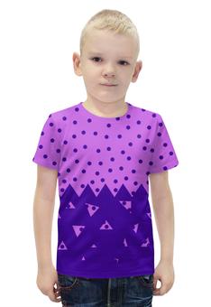 """Футболка с полной запечаткой для мальчиков """"Падающие треугольники"""" - сиреневый, фиолетовый, треугольник, горох, половина"""