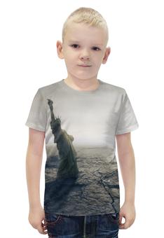 """Футболка с полной запечаткой для мальчиков """"Падение мира"""" - конец света, апокалипсис, статуя свободы"""