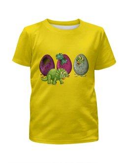 """Футболка с полной запечаткой для мальчиков """"Динозавры"""" - динозавры, динозавр, животное, яйца динозавра"""